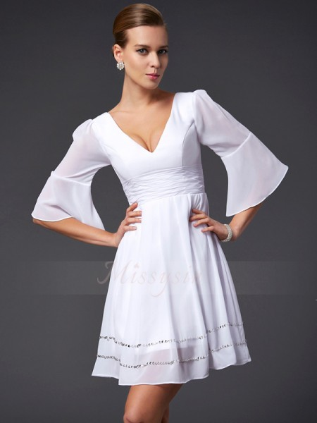 A-Line/Princess V-neck 1/2 Sleeves Short/Mini White Dresses