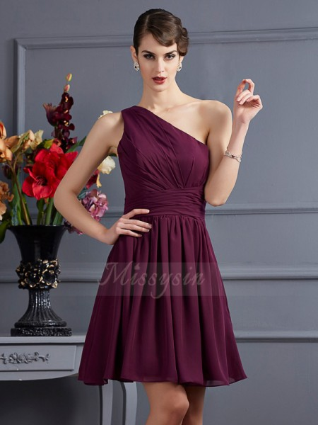 A-Line/Princess One-Shoulder Sleeveless Short/Mini Grape Bridesmaid Dresses