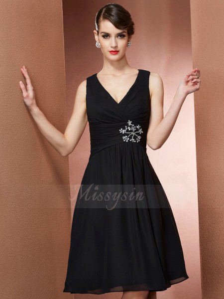 A-Line/Princess Straps Sleeveless Knee-Length Black Bridesmaid Dresses