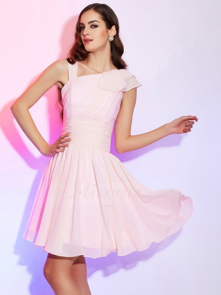 A-Line/Princess Sleeveless Short/Mini Pink Dresses