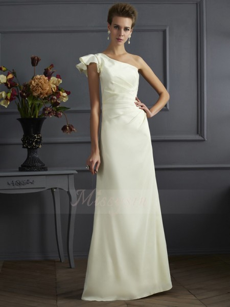 Sheath/Column One-Shoulder Sleeveless Floor-Length Ivory Bridesmaid Dresses