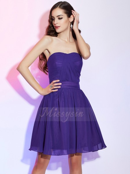 A-Line/Princess Sweetheart Sleeveless Short/Mini Grape Dresses