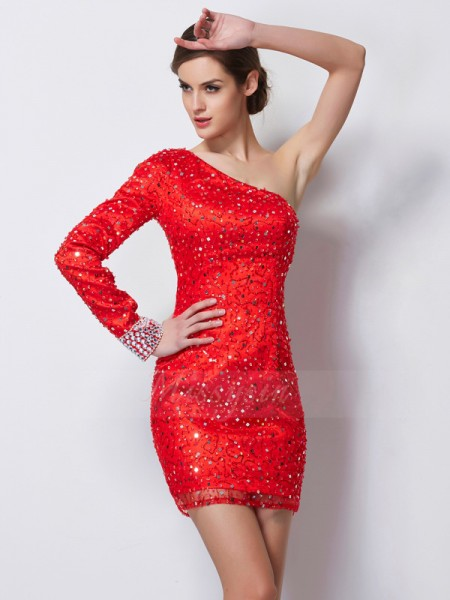 Sheath/Column One-Shoulder Long Sleeves Short/Mini Red Dresses