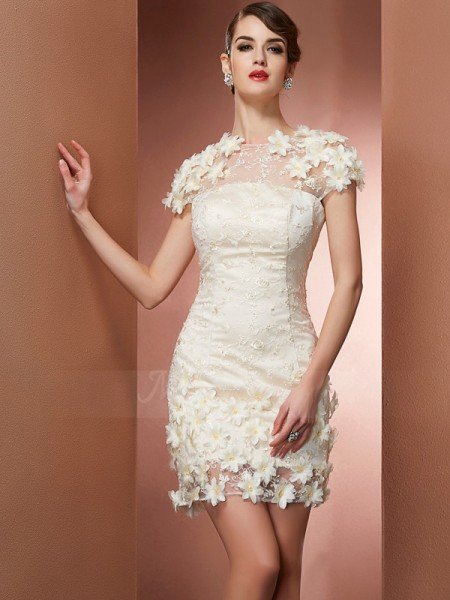 Sheath/Column High Neck Short Sleeves Short/Mini Champagne Dresses