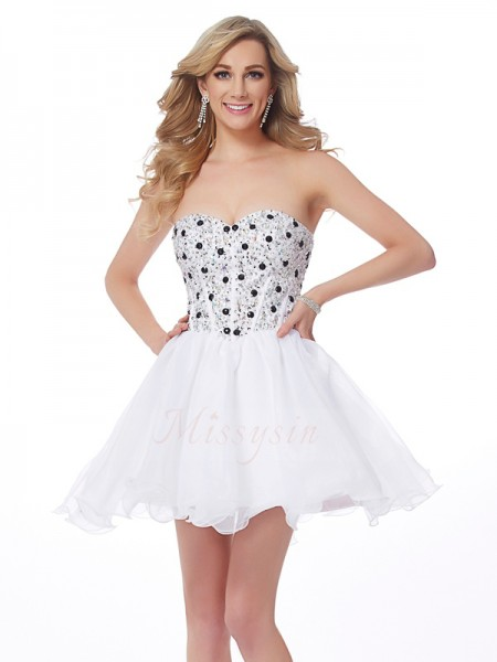 A-Line/Princess Sweetheart Sleeveless Short/Mini White Dresses