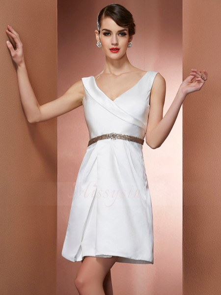 A-Line/Princess Straps Sleeveless Short/Mini White Dresses
