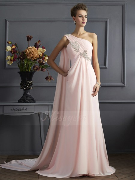A-Line/Princess One-Shoulder Sleeveless Sweep/Brush Train Pink Dresses