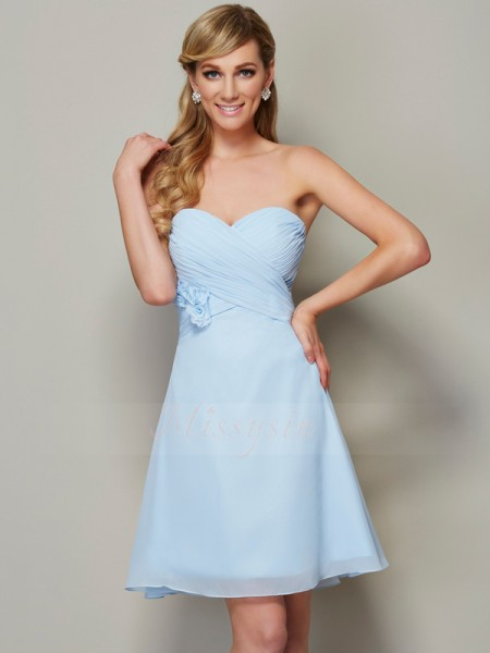 A-Line/Princess Sweetheart Sleeveless Short/Mini Blue Dresses