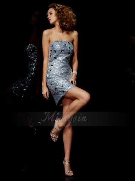 Sheath/Column Strapless Sleeveless Short/Mini Silver Dresses