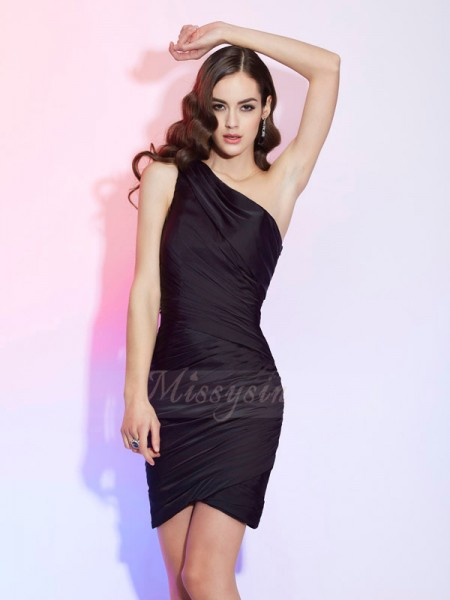 Sheath/Column One-Shoulder Sleeveless Short/Mini Black Dresses