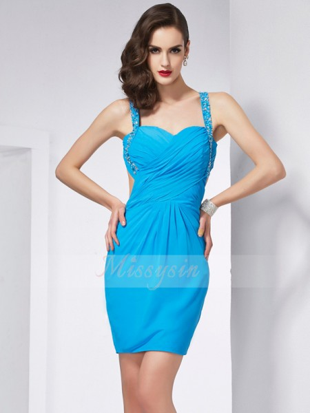 Sheath/Column Spaghetti Straps Sleeveless Short/Mini Blue Dresses
