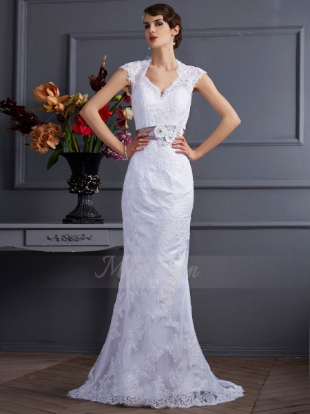 Trumpet/Mermaid Sleeveless Sweep/Brush Train White Wedding Dresses