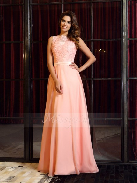 Sleeveless High Neck Chiffon Sweep/Brush Train Pink Dresses