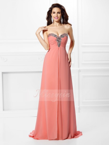 Sleeveless Sweetheart Chiffon Sweep/Brush Train Pink Dresses