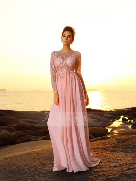 Long Sleeves Bateau Chiffon Sweep/Brush Train Pink Dresses