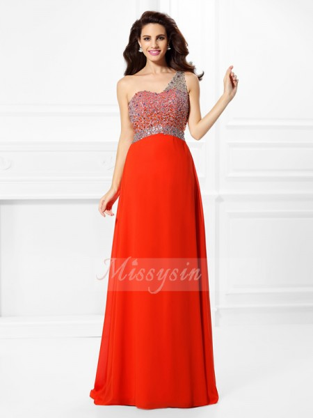 Sleeveless One-Shoulder Chiffon Long Red Dresses