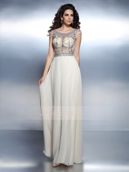 Short Sleeves Bateau Chiffon Long Champagne Dresses
