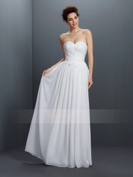 Sleeveless Sweetheart Chiffon Long Ivory Dresses