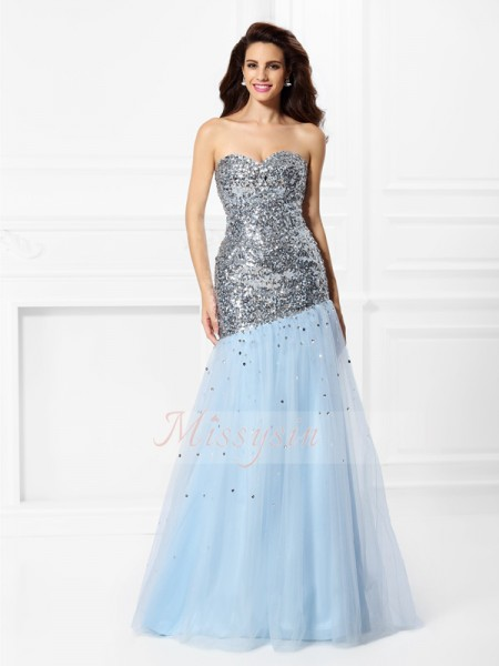 Sleeveless Sweetheart Satin Long Light Sky Blue Dresses