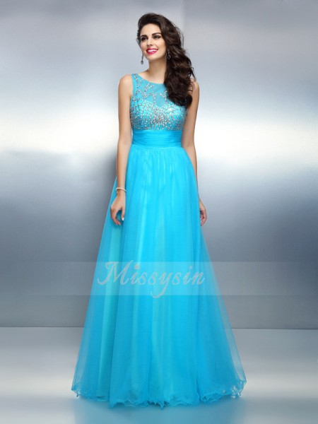 Sleeveless Bateau Elastic Woven Satin Long Blue Dresses