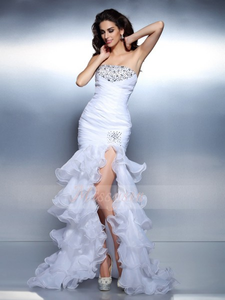 Sleeveless Strapless Organza Long White Dresses