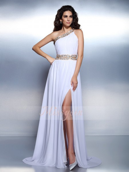 Sleeveless One-Shoulder Chiffon Long White Dresses