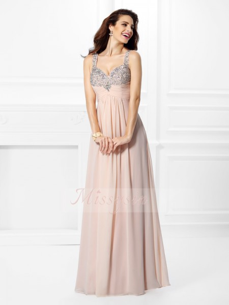 Sleeveless Straps Chiffon Long Pink Dresses