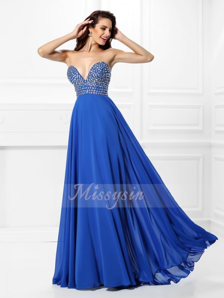 Sleeveless V-neck Chiffon Long Blue Dresses
