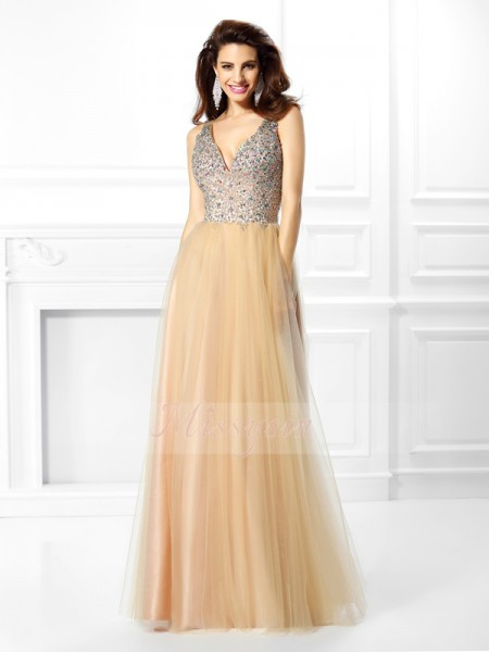 Ball Gown Sleeveless V-neck Satin Long Champagne Dresses