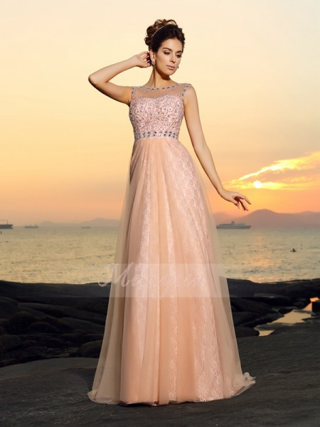 Sleeveless Bateau Chiffon Long Pink Dresses