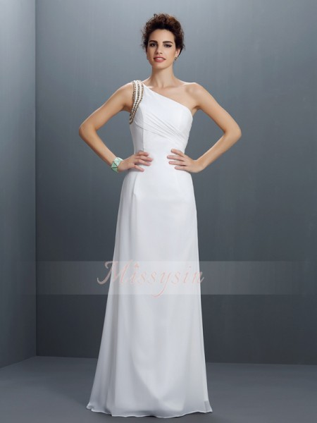 Sleeveless One-Shoulder Chiffon Long Ivory Dresses