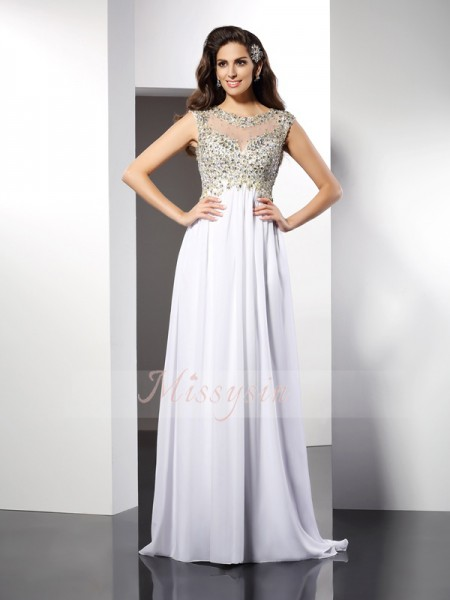 Sleeveless Bateau Chiffon Long White Dresses