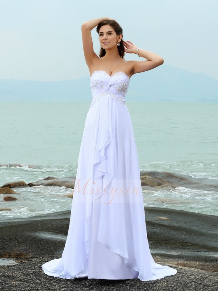 Sleeveless Sweetheart Chiffon Sweep/Brush Train White Wedding Dresses