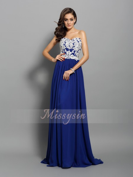 Sleeveless Sweetheart Chiffon Sweep/Brush Train Royal Blue Dresses
