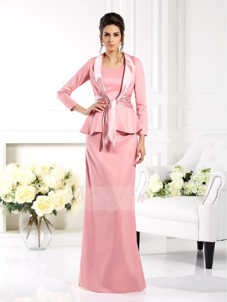 Sleeveless Square Elastic Woven Satin Long Pink Mother of the Bride Dresses
