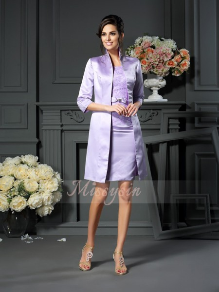 Sleeveless Scoop Satin Short/Mini Lilac Mother of the Bride Dresses