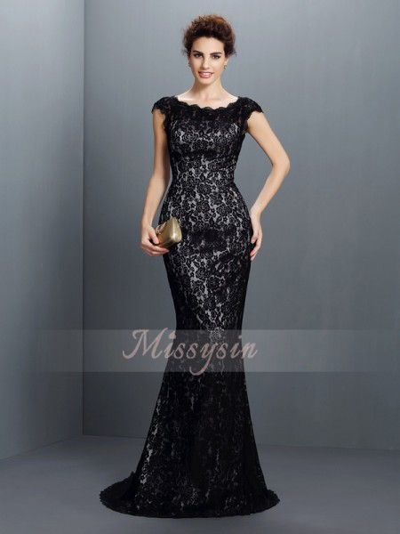 Short Sleeves Bateau Lace Sweep/Brush Train Black Dresses