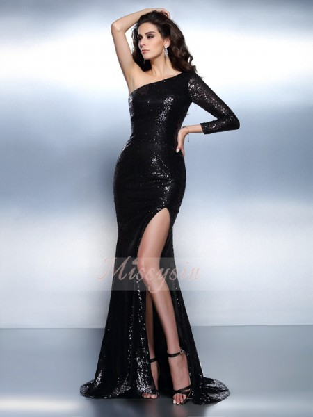 Long Sleeves One-Shoulder Lace Sweep/Brush Train Black Dresses