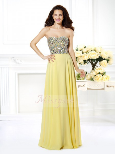 Sleeveless Strapless Chiffon Long Daffodil Dresses