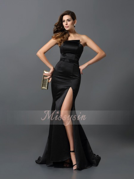 Sleeveless Strapless Satin Long Black Dresses