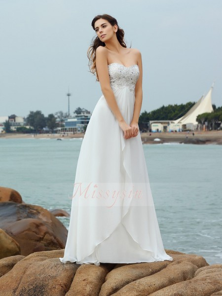 Sleeveless Sweetheart Chiffon Long Ivory Wedding Dresses