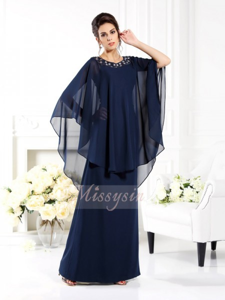 3/4 Sleeves Scoop Chiffon Long Dark Navy Mother of the Bride Dresses