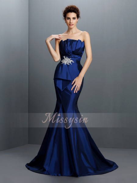 Sleeveless Strapless Taffeta Sweep/Brush Train Royal Blue Dresses
