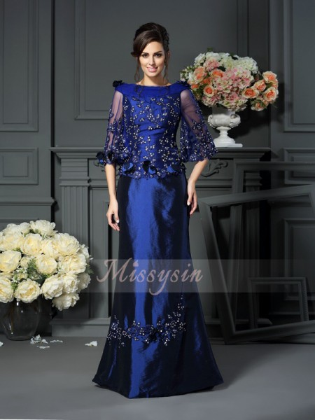 1/2 Sleeves Scoop Taffeta Long Royal Blue Mother of the Bride Dresses