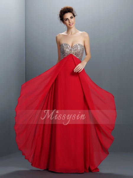 Sleeveless Sweetheart Chiffon Long Red Dresses