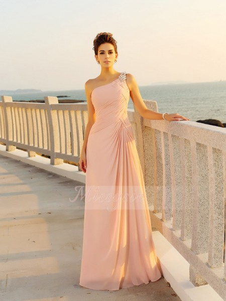 Sleeveless One-Shoulder Chiffon Long Pink Dresses
