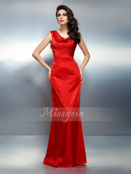 Sleeveless V-neck Silk like Satin Long Red Dresses