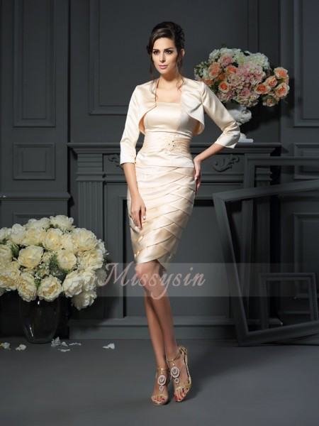 Sleeveless Strapless Satin Knee-Length Champagne Mother of the Bride Dresses
