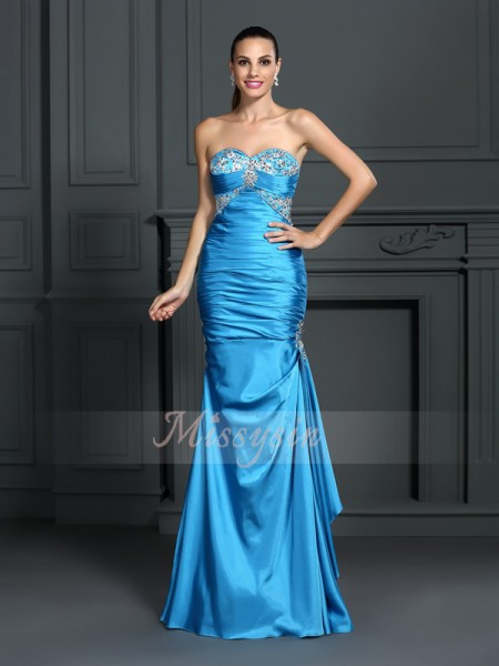 Sleeveless Sweetheart Elastic Woven Satin Long Blue Dresses