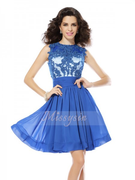 Sleeveless Scoop Chiffon Short/Mini Blue Cocktail Dresses